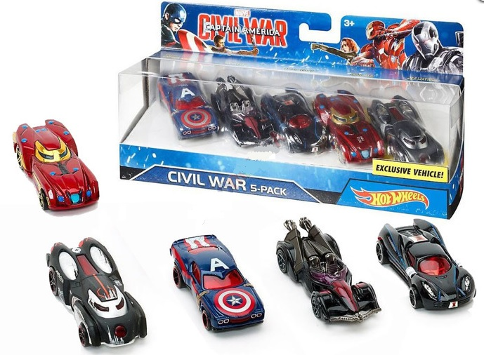 Hot Wheels sada autíčok Marvel Kapitan Amerika